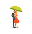 happy couple standing together under green vector image