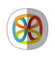 sticker shading colorful rings in cube shape vector image