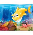 A yellow shark under the sea with starfish and vector image vector image