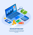accounting day concept background isometric style vector image