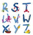 alphabet nautical from r to z vector image vector image