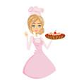 beautiful lady confectioner serves chocolate cake