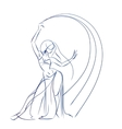 Belly Dancer figure gesture sketch line drawing vector image vector image