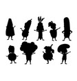 black silhouette set boys and girls kid wearing vector image vector image