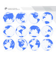 blue earth globes set vector image vector image