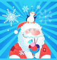 bright new year card with santa claus and a vector image vector image
