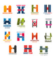 business icons letter h corporate identity vector image