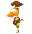 cartoon bird singing vector image vector image