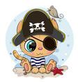 cartoon orange kitten in a pirate hat vector image