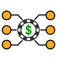 casino chip circuit flat icon vector image vector image
