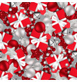 christmas pattern with christmas toys on a gray vector image vector image