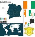Cote Dlvoire map world vector image vector image