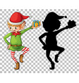 cute boy elf and its silhouette vector image