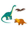 cute cartoon colorful dinosaurs set vector image