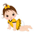 cute little brunette baby girl crawling