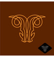 demon goat head line style logo satan ram scary vector image vector image