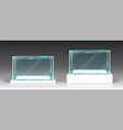 glass showcase display exhibit transparent boxes vector image vector image