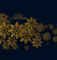 golden christmas snowflakes on black background vector image vector image