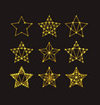 golden geometric stars in art deco style vector image