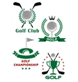 Golf game emblems with equipments and heraldic vector image vector image