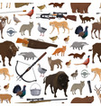 hunting sport items animals and birds pattern vector image vector image