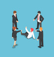 isometric business people pointing finger to vector image vector image