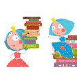 little cute girls in library with books vector image vector image