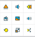 media icons colored line set with megaphone vector image