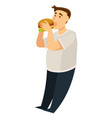 overeating obesity man eating hamburger fat guy vector image vector image