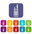 portable handheld radio icons set vector image vector image