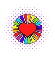 Rainbow heart with color rays icon comics style vector image vector image