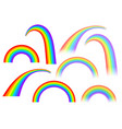 rainbows in different shape on white background vector image vector image