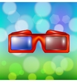 Red Glasses for Watching Movies vector image