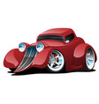 red hot rod restomod coupe cartoon car vector image