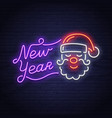 santa sign neon signmerry christmas and new year vector image