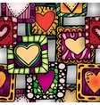 Seamless pattern of original doodle hearts in vector image