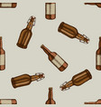 seamless pattern with hand drawn colored bottles vector image