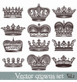 set hand drawn crowns in vintage style vector image vector image