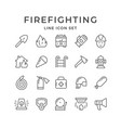 set line icons of firefighting vector image vector image