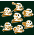 set of vintage sports all star crests with skulls vector image vector image