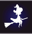 silhouette witch in hat flying on broom dark blue vector image vector image