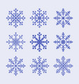 snowflake set pattern for christmas or new year vector image vector image