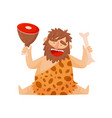 stone age prehistoric man with meat bone vector image vector image