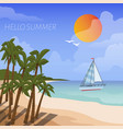 summer beach vacation cartoon style poster vector image vector image