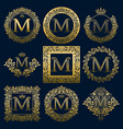 vintage monograms set of m letter vector image