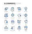 Blue Line E-Commerce Icons vector image