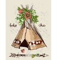 teepee and flowers vector image