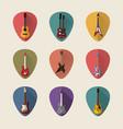 guitars flat icons set vector image
