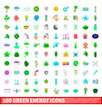 100 green energy icons set cartoon style vector image vector image