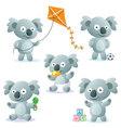 5 cute cartoon koalas vector image vector image